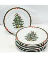 "Topco Ribbons and Tree Xmas Dinner Plates 10.5"" Set of 8 - $58.79"