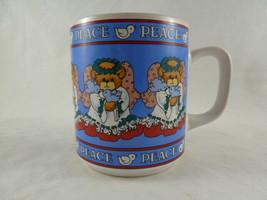 Lucy & Me Vintage Angel Bear Mug Christmas Joy Enesco 1987 Blue - $11.87