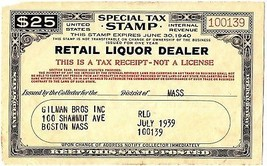 1939 $25 Special Tax Stamp, Retail Liquor Dealer, U.S. Internal Revenue,... - $14.49