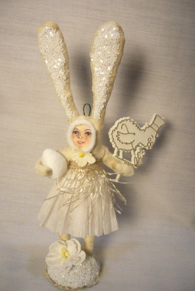 Vintage Inspired Spun Cotton Clothed Easter Bunny , no. 162