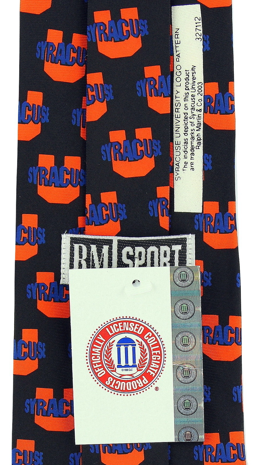 Syracuse Cuse Mens Neck Tie College University Logo Orange Silk Black Necktie image 3