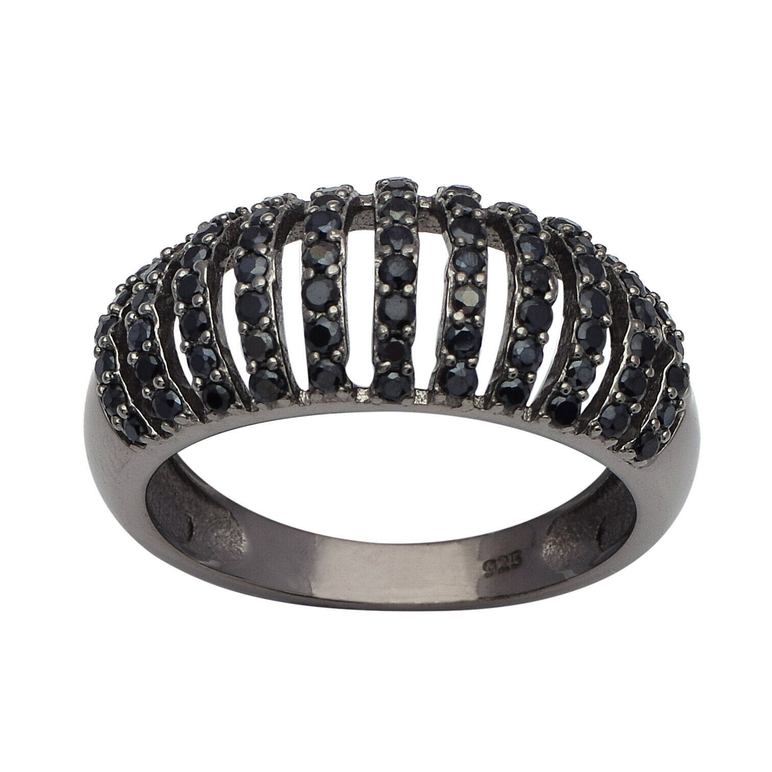 Elegant 925  Silver Black Spinel Domb Shank Design Hollow Cluster Cocktail Ring