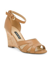New Nine West Brown Leather Cork Wedge Comfort Sandals Size 8 M Size 8 .5 M $89 - $34.99