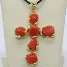 925 STERLING YELLOW SILVER CROSS PENDANT NATURAL RED CORAL NUGGETS ITALY... - $75.00