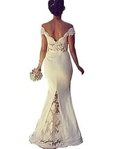 Women's Long Mermaid Ivory Prom Dresses Gown Off Shoulder,Bridesmaid Dress  - $159.00