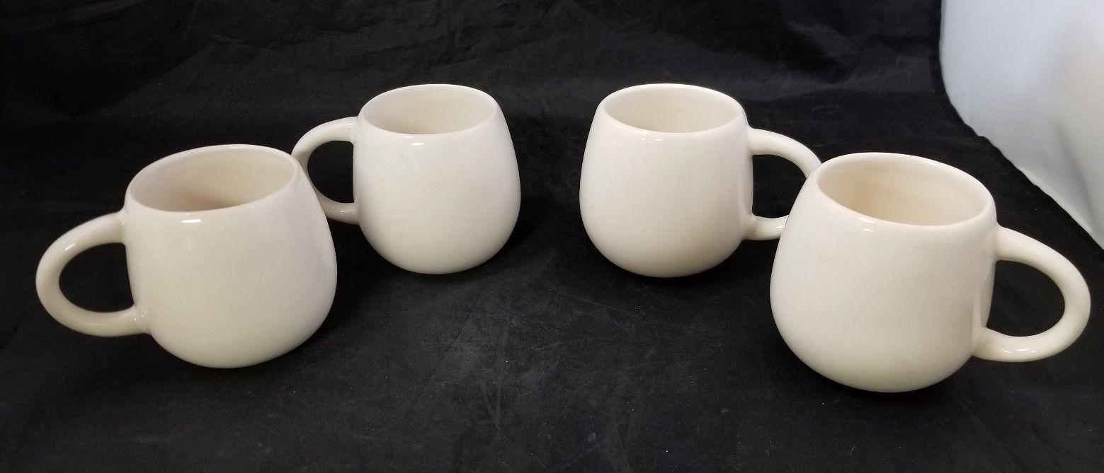 French Cafe Ceramic Hot Chocolate Serving Pitcher & 4 Mugs Set of 5 White image 6