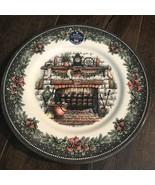 Royal Stafford Christmas Fireplace Stockings Dinner Salad Plates S/8 ~New ~ - $79.99