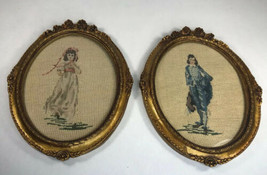 Vintage Pinkie & Blue Boy Finished Needlepoint in Ornate Gold Oval Custo... - £30.54 GBP