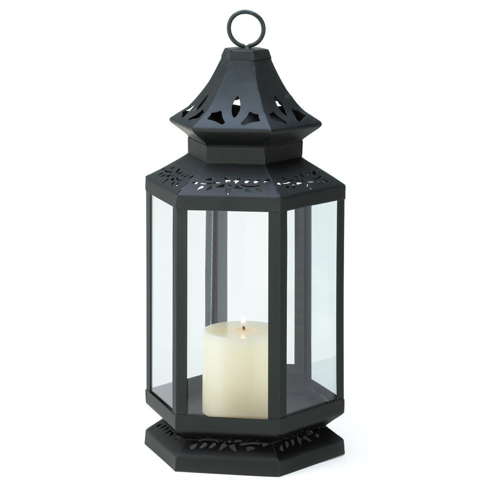 Set of 6 Large Black Clear Glass Stagecoach Candle Lanterns Wedding Centerpieces