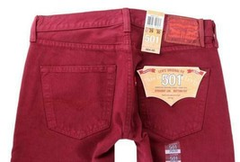 NEW LEVI'S 501 MEN'S ORIGINAL FIT STRAIGHT LEG JEANS BUTTON FLY RED 00501-1570