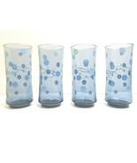 "4 Libbey Blue Glass 6 1/2"" VTG Spring Flowers Cooler Retro Drink Decor Tumblers - $36.50"