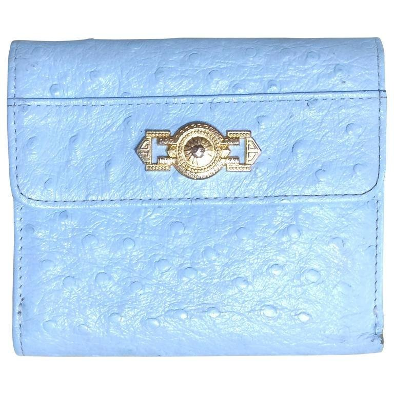Primary image for Vintage Gianni Versace ostrich-embossed light blue leather wallet with golden su