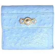 Vintage Gianni Versace ostrich-embossed light blue leather wallet with g... - $182.00