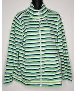 TOMMY BAHAMA Women Green Blue Striped Jacket Full Zip High Neck Size L  - $29.99