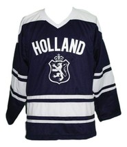 Custom Name # Team Holland Hockey Jersey New Navy Blue Any Size image 3