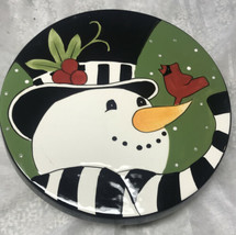 Fitz & Floyd Frosty's Frolic Cake/ Chip Dip Plate Snowman Christmas Holidays - $24.99