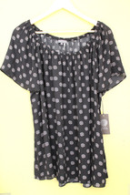 NWT Vince Camuto Rich Black Print Flutter Sleeve Airy Gorgeous Blouse Top L $79 - $29.40
