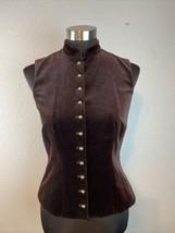 Ralph Lauren Women Velvet Velour Vest XS Chocolate Brown Brass Buttons S... - $37.12