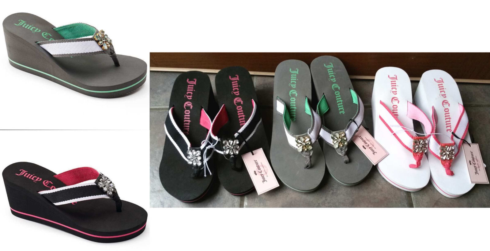 Juicy Couture Thong Wedge Flip Flop Sandals Rhinestone Beach Black Gray Pink NEW