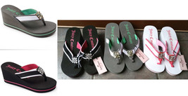 Juicy Couture Thong Wedge Flip Flop Sandals Rhinestone Beach Black Gray ... - $19.97