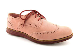 COLE HAAN Size 9 LUNARGRAND Pink Suede Wingtip Oxfords Shoes - $59.00