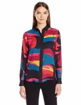 ANNE KLEIN Size 6 Art Deco Long Sleeve Blouse Juniper Combo - $78.16