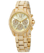 NEW WOMENS MICHAEL KORS (MK6494) MINI BRADSHAW PAVE GLITZ CHRONO GOLD TO... - $299.00