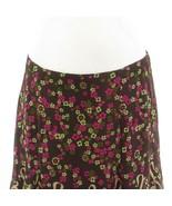 Brown pink floral print 100% silk ANTHROPOLOGIE NANETTE LEPORE A-line sk... - $49.99