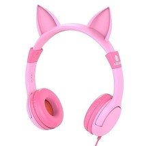 PINK EARPHONES GIRLS CAT EARS MUSICAL AUDIO ADJ... - $29.65