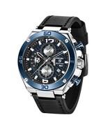 Benyar Men's Leather Chronograph Quartz Wrist Watch BY-5151 (Black & Blue) - $48.00