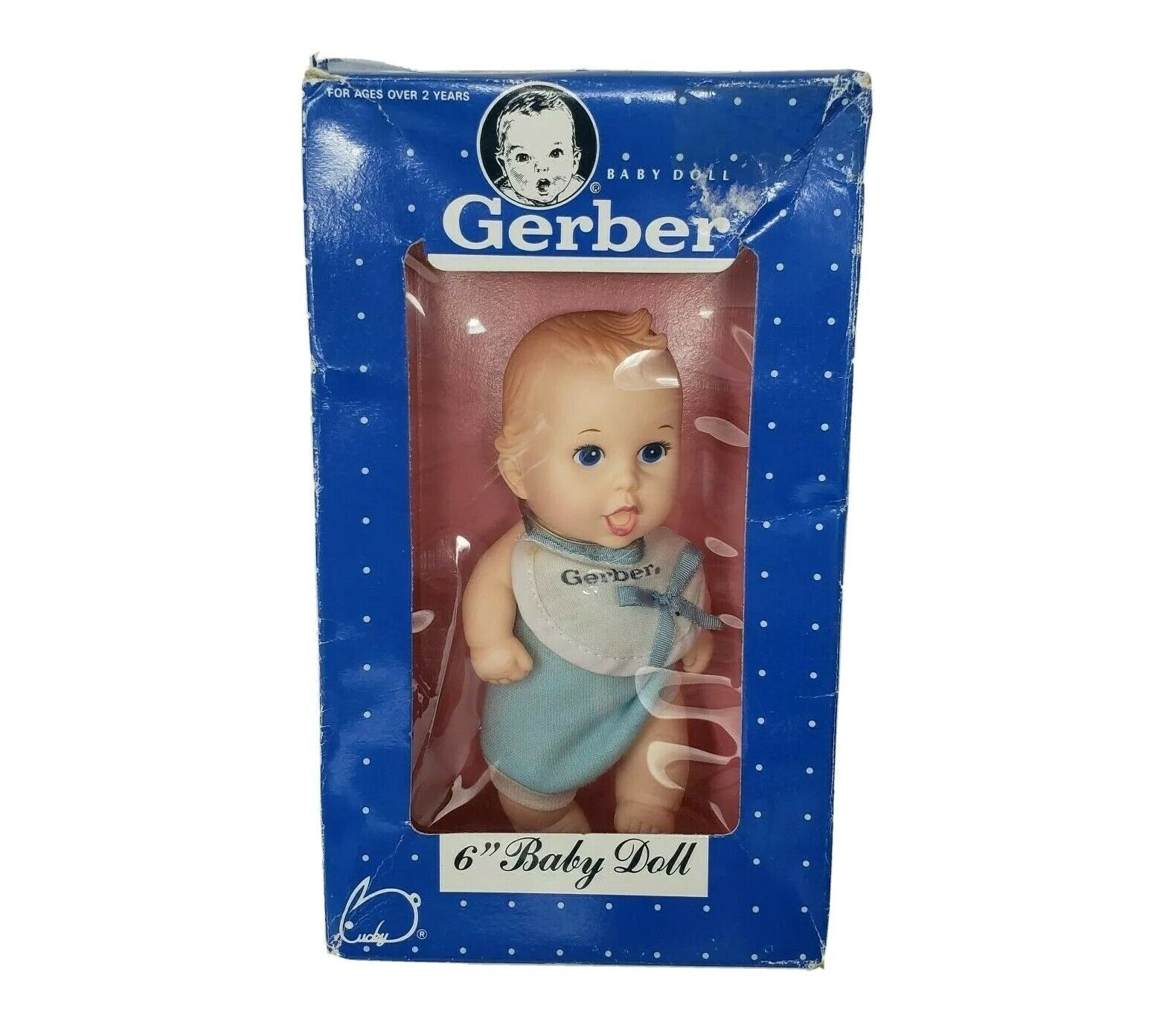 """6"""" VINTAGE 1991 GERBER PRODUCTS BABY BOY DOLL IN BOX / PACKAGE 59106 - $27.12"""