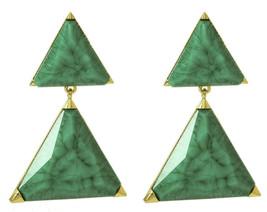 Amrita Singh Green Resin Bermuda LARGE Triangle Drop Earrings ERC 3028 NWT - $21.29
