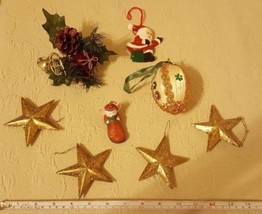 Vtg Mixed Lot of 8 CHRISTMAS TREE ORNAMENTS:  Santa, Mouse in Shoe, star... - $24.75