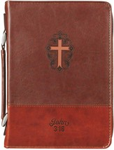 Bible Cover Brand NEW John 3:16 Two-Toned Brown Large Fits 9 5/8 x 6 7/8... - $26.53
