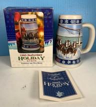 "NEW IN BOX 1995 Budweiser Holiday 20oz Stein ""Lighting The Way Home"" NIB +COA - $19.79"