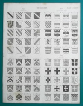 HERALDRY Chevrons Crosses Bars Bends - c 1835 Fine Quality Print - $12.60