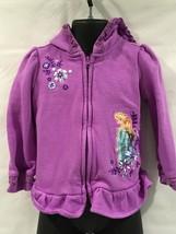 EUC Disney Frozen Purple Hoodie Fleece Lined Full Zip Jacket  w/ Anna & ... - $12.00