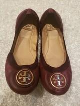 Tory Burch~Caroline-Ballet Flats/Shoes Women Size 8.5, Cabernet, Gold Logo - $56.09