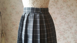 Mini GRAY Plaid Pleated Skirt College Style Pleated Plaid Skirt Plus US0-US18 image 6
