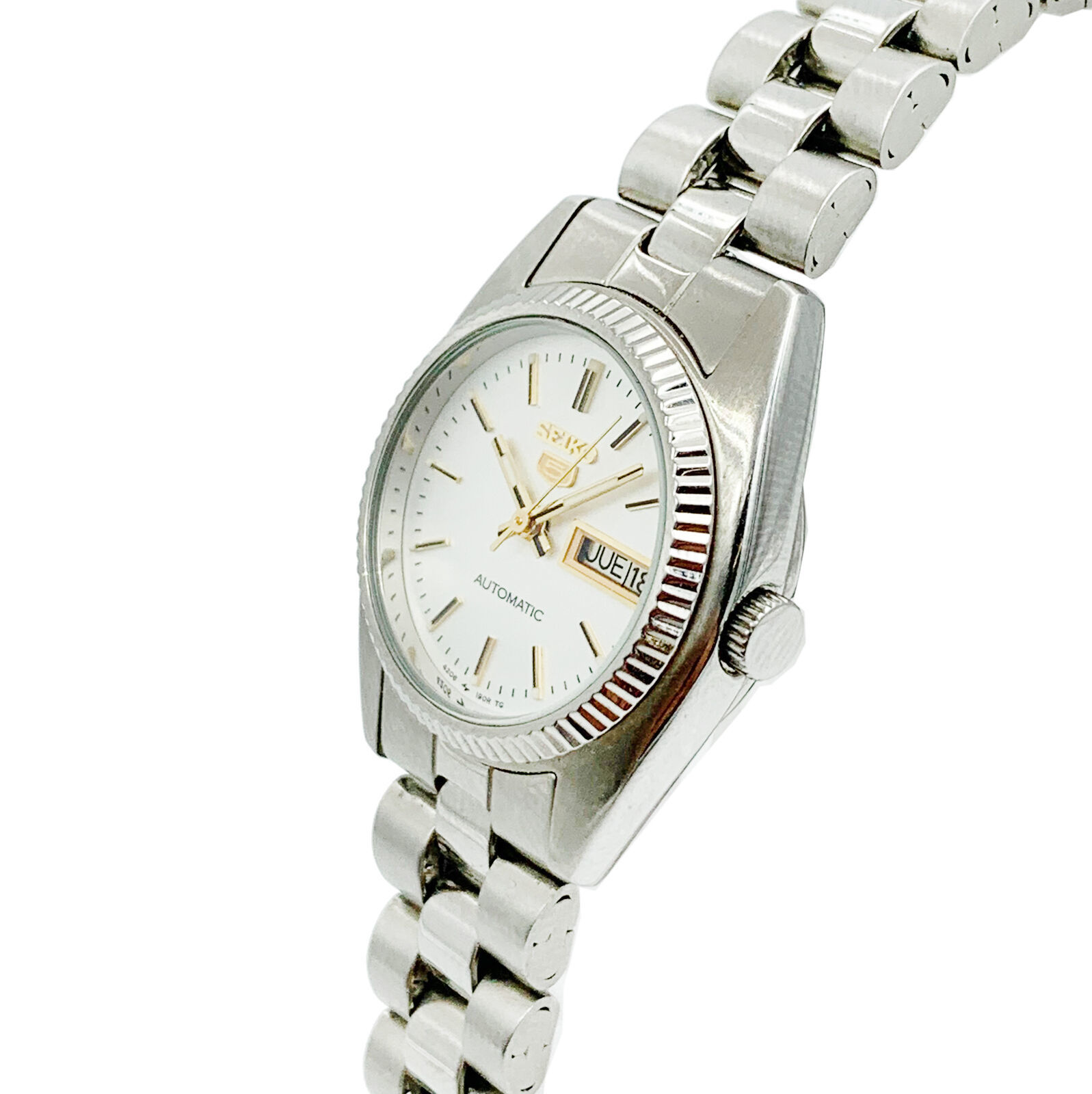 Seiko 5 Automatic Silver Dial Day Date Stainless Steel Ladies Watch
