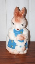 "Vintage Cookie Jar Bunny Rabbit with Toddler Bunny Cute 13"" Tall - $93.49"