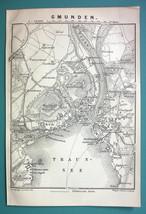 1905 MAP Baedeker - AUSTRIA Gmunden City Plan - $6.71