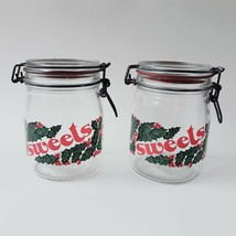 Vtg Wheaton Christmas Sweets Glass Jars Wire Bail Holiday Holly Berries ... - $19.99