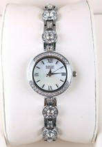 New Badgley Mischka Silver Crystal Accented Pearl Face Dress/Formal Watch NIB image 2