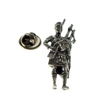 Scottish Piper very detailed English Pewter tie pin, Lapel Pin Badge, in giftbox