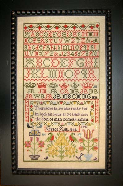 Grace Risk 1848 Antique Sampler Reproduction cross stitch chart Samplers Revisit