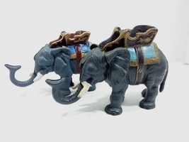 Pair if Antique Mid-Century Cast Iron Mechanical Elephant Coin Banks - $49.45