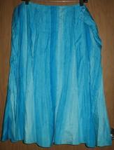 """Womens 16W Lauren Ralph Aqua/Teal Blue Tie Dye Silk 28 1/2"""" Long Full Skirt - $38.61"""
