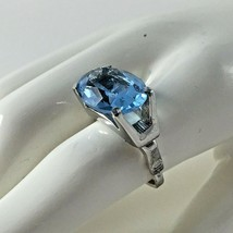 Vintage Vendome Blue Adjustable Ring 5 ½ Modernist Signed Jewelry Christ... - $89.05