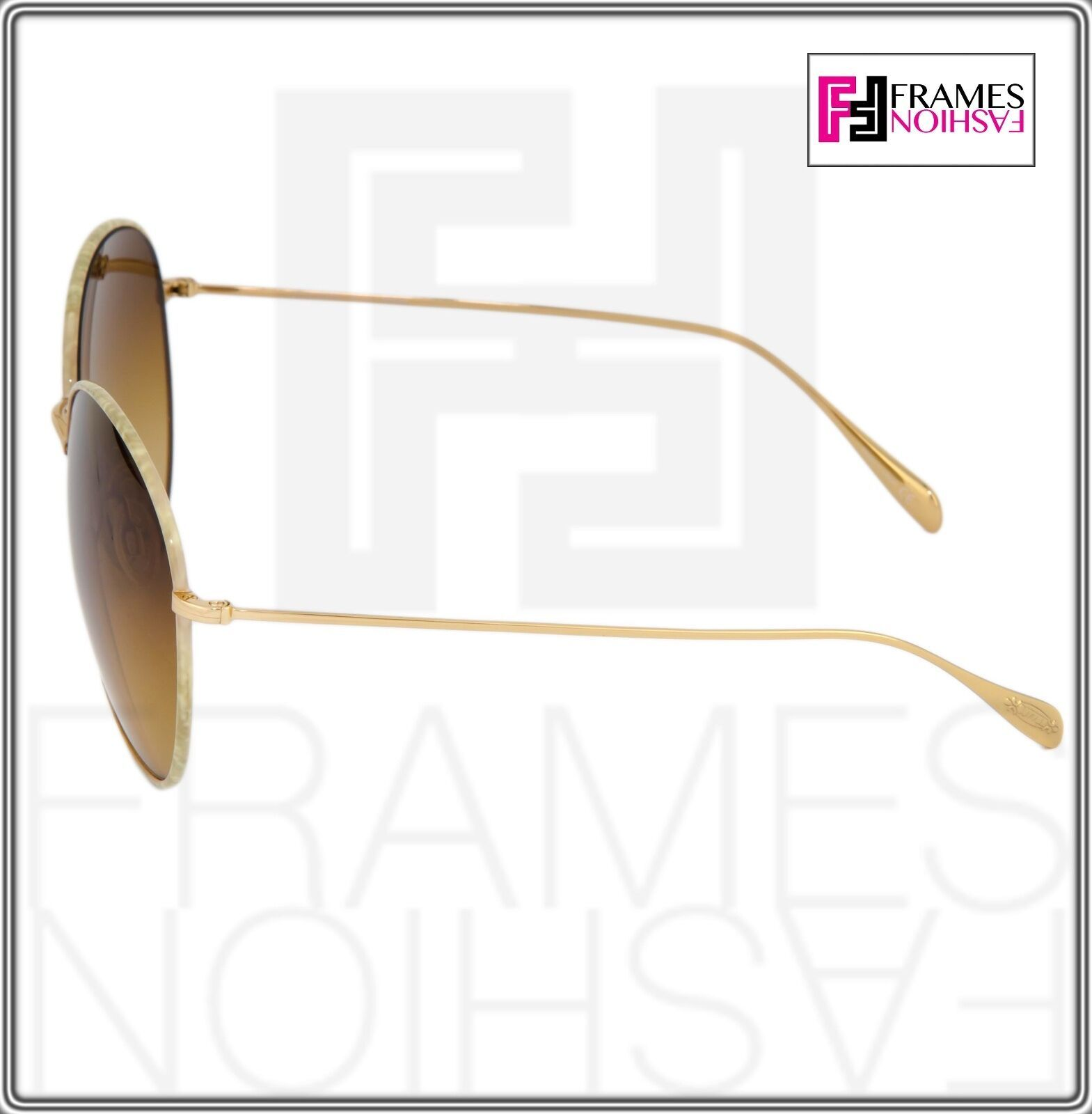 OLIVER PEOPLES BLONDELL 1102 Gold Titanium Brown Beige Polarized Sunglass 1102ST image 4